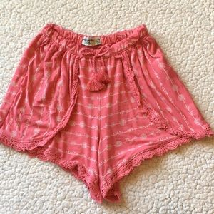Abercrombie kids coral print shorts